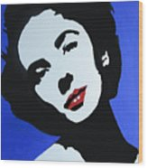 The Charming Lady In Black And White With Red Lips Wood Print