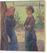 The Chat Wood Print by Camille Pissarro
