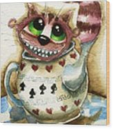 The Cheshire Cat - In A Teapot Wood Print