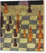 The Chess Game, New York City C. 1977 Wood Print