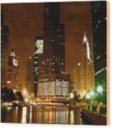 The Chicago River At Night Wood Print
