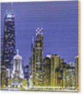 The Chicago Skyline Night-panoramic-001 Wood Print