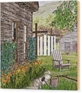 The Chicken Coop Wood Print