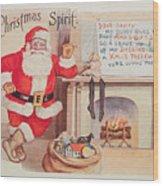 The Christmas Spirit Vintage Card Santa Next To Fireplace Wood Print
