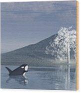 The Christmas Whale Wood Print