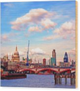The City Of London By Day Wood Print