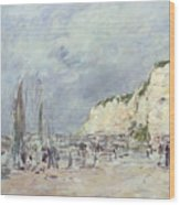 The Cliffs At Dieppe And The Petit Paris Wood Print by Eugene Louis Boudin