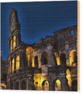 The Coleseum In Rome At Night Wood Print