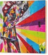 The Colorful Kiss Wood Print