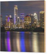 The Colorful Neon Lights On The Austin Skyline Shine Bright Wood Print