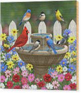 The Colors Of Spring - Bird Fountain In Flower Garden Wood Print by Crista Forest