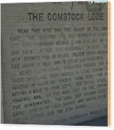 The Comstock Lode Marker Wood Print