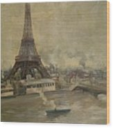 The Construction Of The Eiffel Tower Wood Print by Paul Louis Delance