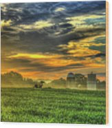 The Cornfield Dawn The Iron Horse Collection Art  Wood Print