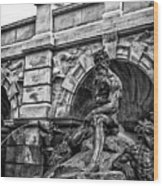 The Court Of Neptune Fountain In Black And White Wood Print