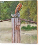 The Cowboy Boot Wood Print by Donna Greene