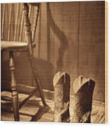 The Cowgirl Boots And The Old Chair Wood Print