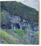 The Craggy Pinnacle Tunnel On The Blue Ridge Parkway In North Ca Wood Print
