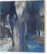 The Creekside Bath Of Alice In Royal Blue Wood Print