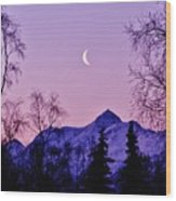 The Crescent Moon In Lavender Wood Print
