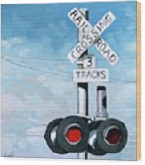 The Crossing - Train Signals Wood Print