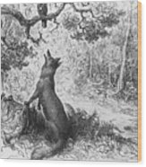The Crow And The Fox Wood Print by Gustave Dore