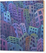 The Crowded City Wood Print