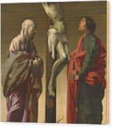 The Crucifixion With The Virgin And Saint John Wood Print
