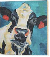 The Curious Cow Wood Print
