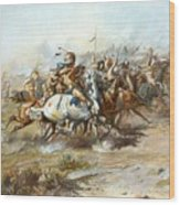 The Custer Fight Wood Print