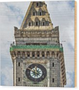 The Customs House Clock Tower Boston Wood Print