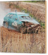 The Damaged Car In A Smoke Wood Print
