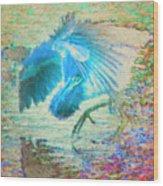 The Dance Of The Blue Heron Wood Print