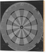 The Dart Board In Black And White Wood Print