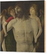 The Dead Christ Supported By Angels Wood Print