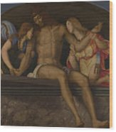 The Dead Christ With Angels Wood Print