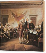 The Declaration Of Independence Wood Print by John Trumbull