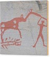 The Deer And Female Hunter Wood Print