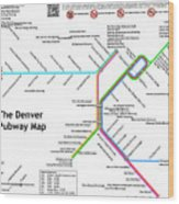 The Denver Pubway Map Wood Print