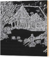 The Deserted Cabin At Night Wood Print