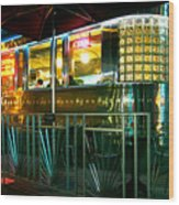 The Diner By Night Wood Print
