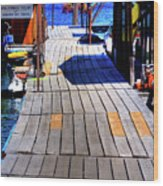 The Dock At Hill's Resort Wood Print