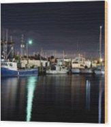 The Docks At Night Wood Print