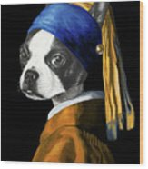 The Dog With A Pearl Earring Wood Print