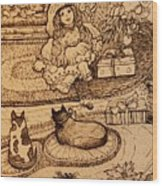 The Doll, The Kitties And The Gingerbread Boy Wood Print