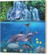 The Dolphin Family Wood Print