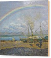 The Downpour. Santona Bay By Dario De Regoyos, 1900. Wood Print