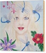 The Dragonfly Girl Wood Print
