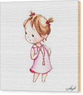 The Drawing Of Little Girl In Red Beads Wood Print