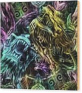 The Duel Of The Dragons  Wood Print